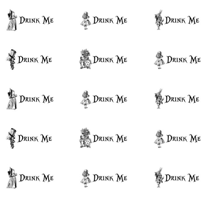 drink me printable wedding favours