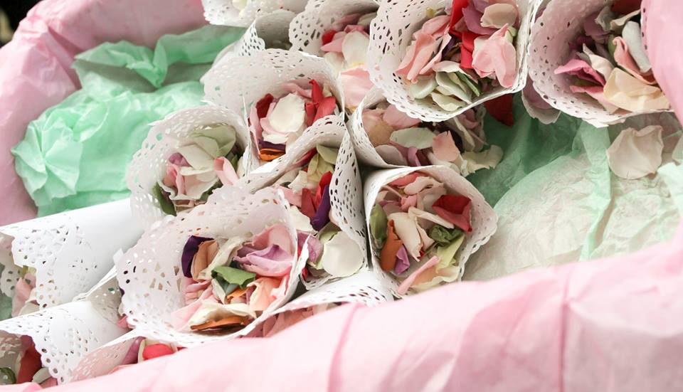 Our wedding confetti from Confetti Direct (we chose one on sale) and our DIY confetti cones.