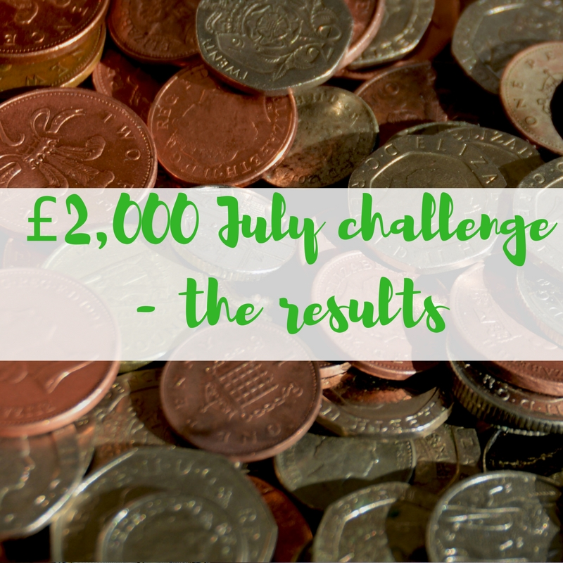 £2,000 July challenge - the results