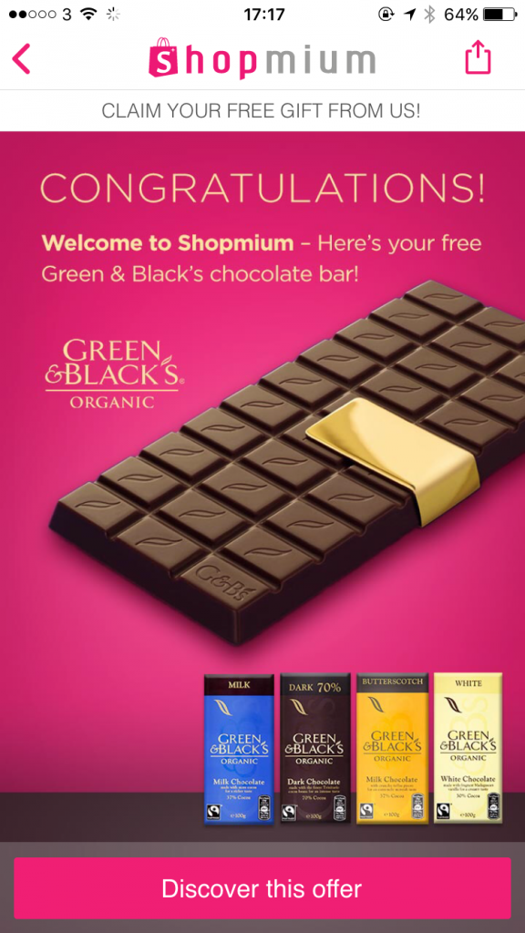 Shopmium free chocolate