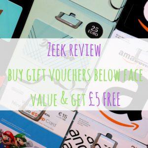 Zeek review – buy gift vouchers below face value & get £5 FREE