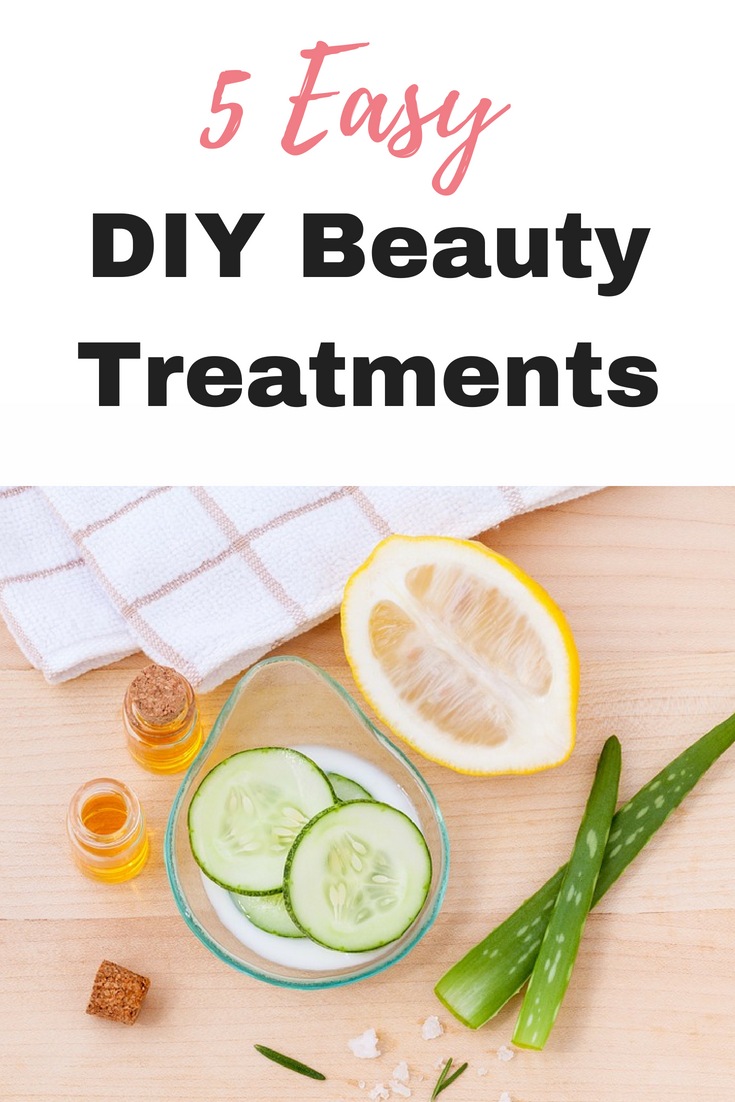 Here I have put together 5 easy DIY beauty treatments which you can make up with ingredients found in your own home by Emma at EmmaDrew.info #BeautyTreatments #Savemoney #moneysaving