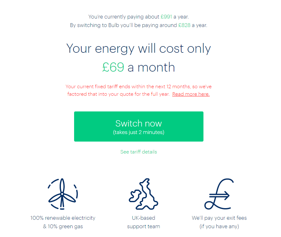 Screenshot from bulb showing that my new energy prices will only be £69 a month, plus the bulb referral credit