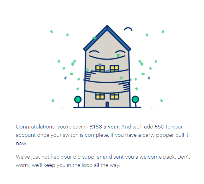 Screenshot with a house showing my savings of £163 made by switching to bulb as well as the bulb referral credit