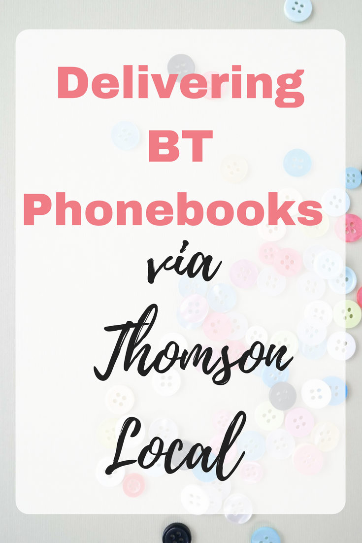 Delivering BT Phonebooks via Thomson Local by Emma at EmmaDrew.info. #MakeMoney #JobsfromHome