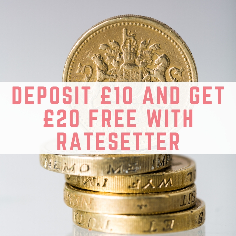 Deposit £10 and get a £20 bonus with Ratesetter