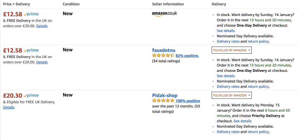 Screenshot of the Amazon marketplace showing this item (Pusheen money bank) on sale by fulfilled by Amazon sellers