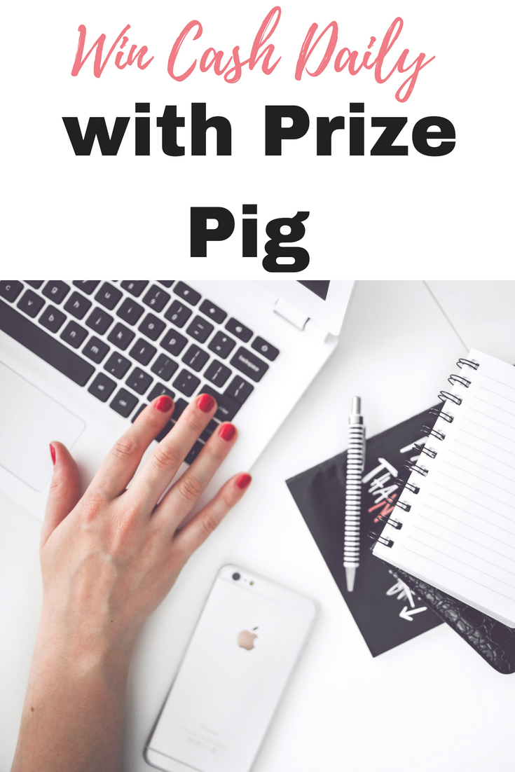 Win cash daily with Prize Pig. Prize Pig is so easy to use, and all it takes is a second to make that click to instantly see if you have won by Emma at EmmaDrew.info #MakeMoney #EarnMoney