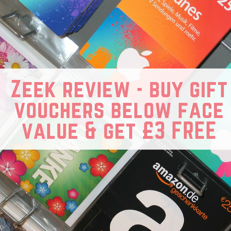 Zeek review - buy gift vouchers below face value & get £3 FREE