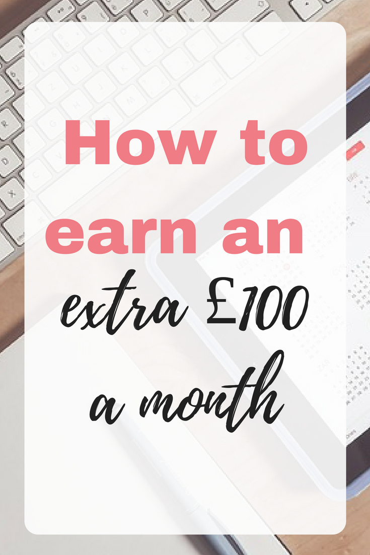 Earning £100 consistently every month is relatively easy - it is a great way to dip your toes into the world of earning extra money online. Whilst it isn't a life changing amount, it might be what you need to pay for your holiday spending money, for a new gadget you are after or anything else by Emma by EmmaDrew.ingo. #MakingMoney #MakeMoneyFromHome #ExtraMoney #EarnMoneyAtHome